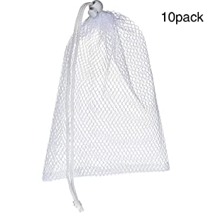 TecUnite 10 Pack Nylon Mesh Stuff Sacks Durable Mesh Bags with Sliding Drawstring for Breast Pump Dishwasher, White