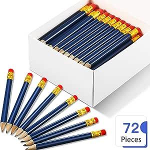 72 Piezas de Mini Lápices Cortes Lápices de Bolsillo de Golf de Medios con Borrador #2B para Golf Aula Banco de Iglesia (Azul Marino): Amazon.es: Oficina y papelería