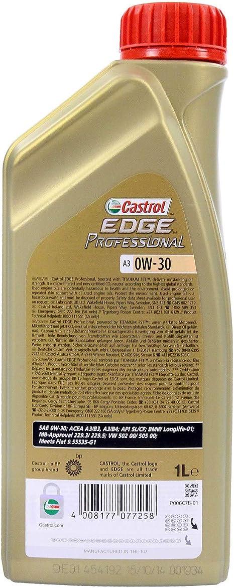 3x 1 L Liter Castrol Edge Professional Titanium Fst A3 0w 30 Motoröl Auto