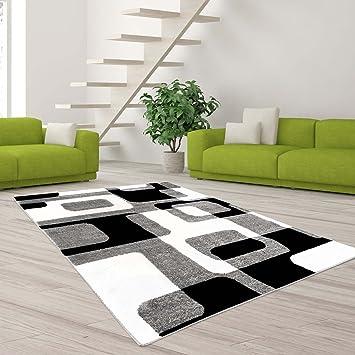 Carpet City Teppich Hochwertig Modern Designer Moda Wohnzimmer  Konturenschnitt Retro Muster Grau Creme Schwarz Größe 80