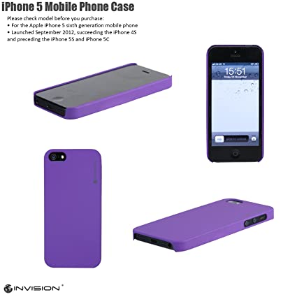 83a48c8bb8c Invision iPhone 5 Ultra Slim Mobile Phone Case Cover Hard Shell by (Purple  IP-5G)  Amazon.co.uk  Computers   Accessories
