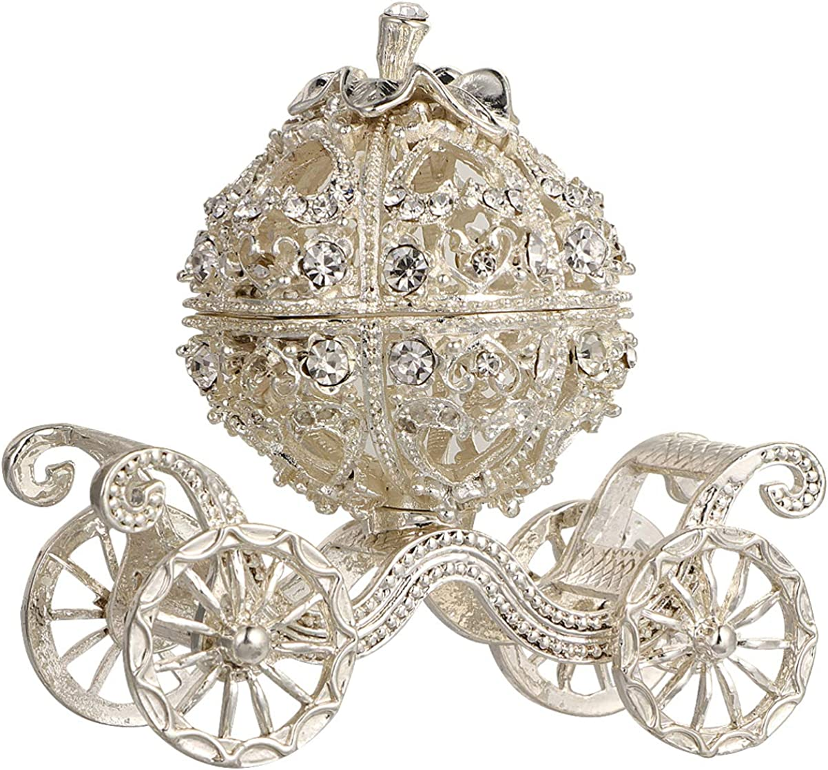 NUOBESTY Cinderella Pumpkin Carriage Decorative Hinged Jewelry Trinket Box Silver Rhinestone Jewelry Display Holder Unique Gift for Grils Women
