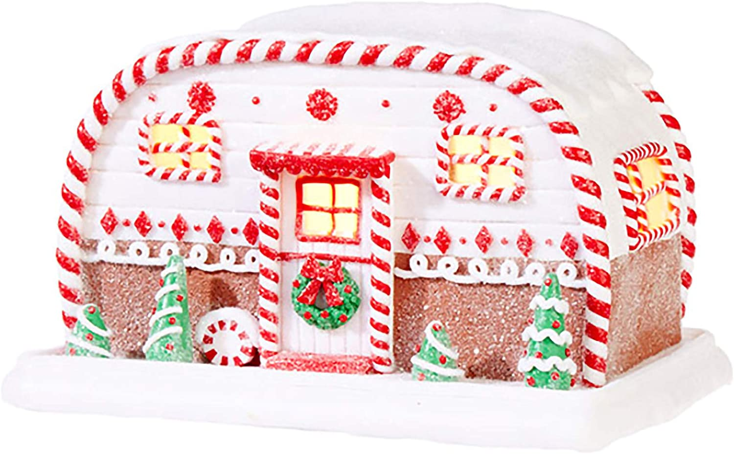 """Raz 9.5"""" Battery Operated LED Lighted Gingerbread House Camper Trailer Christmas Figure 3916186"""
