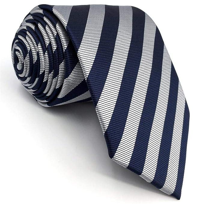 S&W SHLAX&WING Corbatas Para Hombre Rayas Azul Grey Corbatas Traje ...