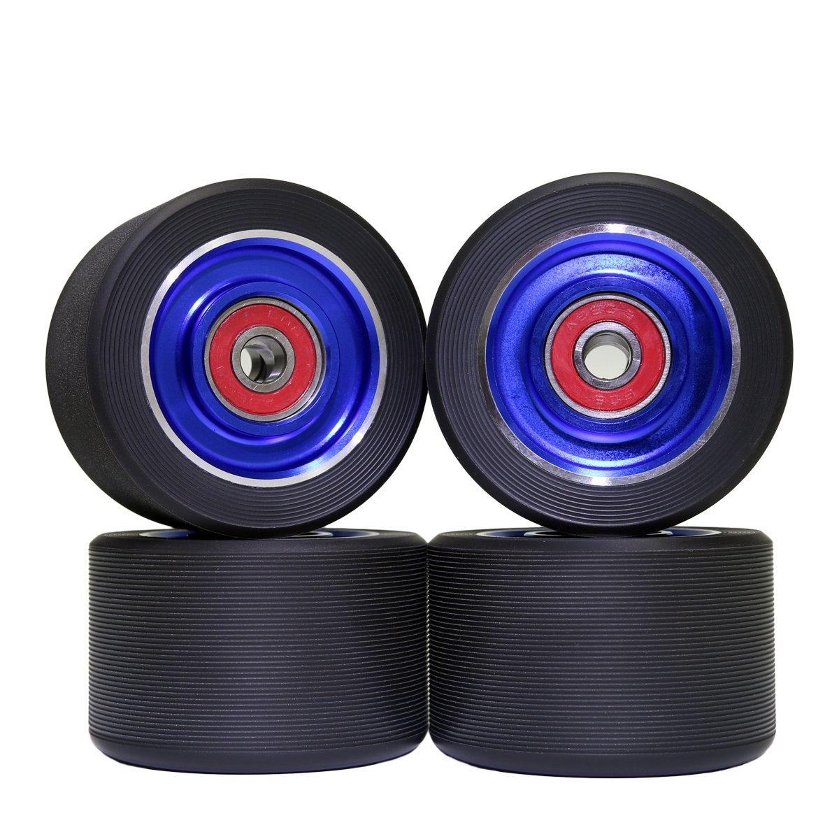 Z-FIRST 62mm Roller Skates Wheels Aluminum Alloy Speed Skate Wheels Replacement Wheels with Abec-9 Bearing (Pack of 4) (Black-Blue)