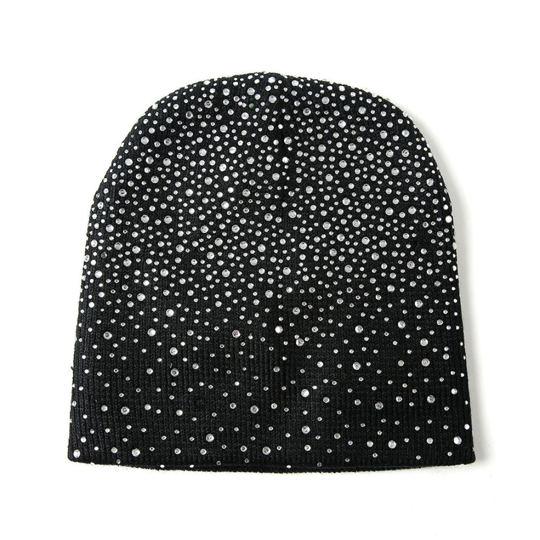 42f5caa987626 Women Ladies Baggy Beret Chunky Knit Knitted Braided Beanie Hat Ski Cap  with Diamond (Black) at Amazon Women s Clothing store