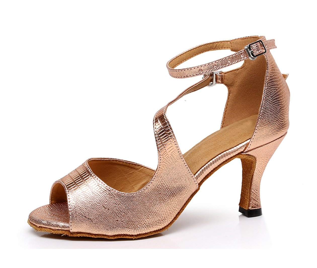 Minishion Women's Stylish Rose/Gold Synthetic Tango Latin Ballroom Dance Shoes Evening Wedding Sandals US 7