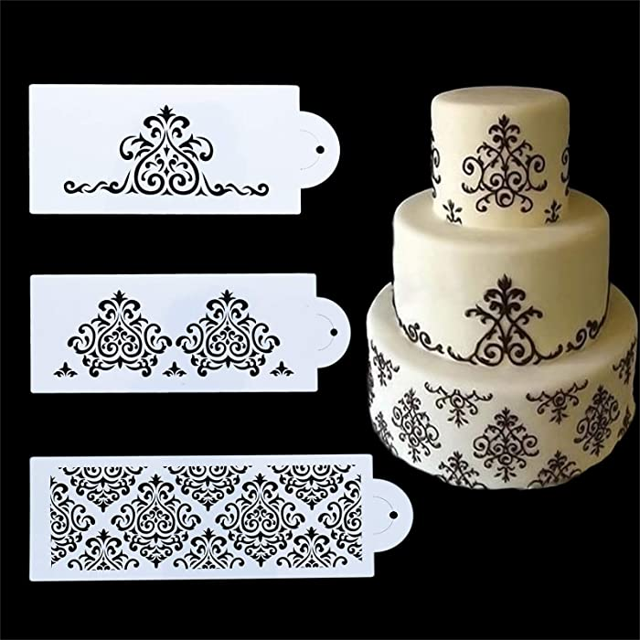 FVVMEED 3 Pieces Cake Decorating Templates Powdered Sugar Sieve Template Set Wedding Cake Decorative Flower Edge Molding Baking Tool,Cake Lace Decoration Stencils Food Grade Plastic Stencils Molds