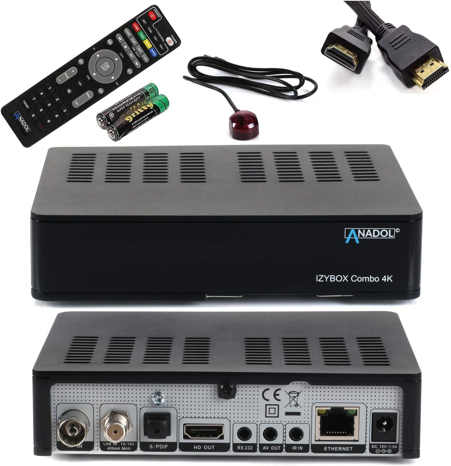 ANADOL IZYBOX Combo 4K Receptor de satélite, receptor de cable o receptor DVB-T2, sintonizador DVB-S2X, Multistream, 2X USB, lector de tarjetas, Astra ...