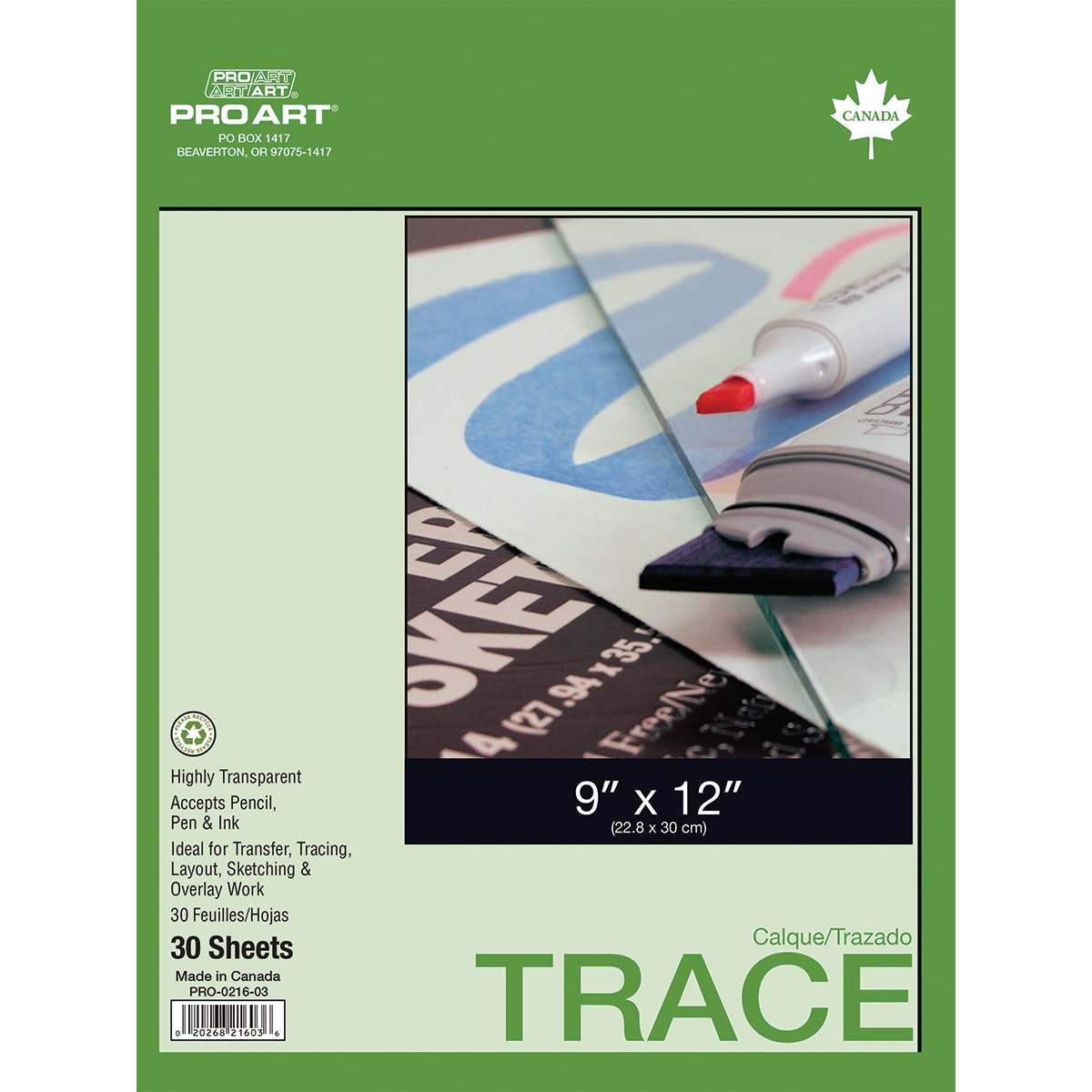PRO ART 9-Inch by 12-Inch Tracing Paper Pad