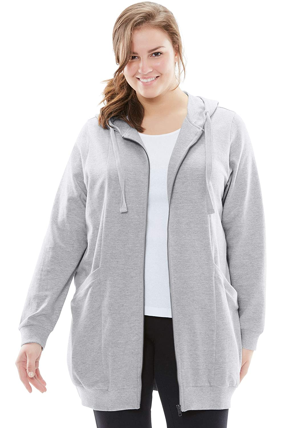 ee89af1d803 Woman Within Women's Plus Size Zip Front Tunic Hoodie at Amazon Women's  Clothing store: