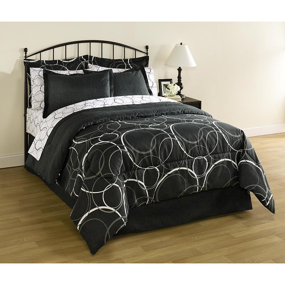 Bed Linens. This Essential Queen Size Complete Bed 8-piece Set, Home Bedding For Bedroom Furniture Includes Comforter, Bed Skirt, 2 Pillow Cases, 2 Shams, Flat & Fitted Sheets. In Black, Greys & White