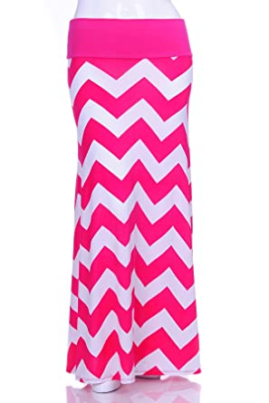 754894b521a34d Simply Ravishing Women's Plus Size Chevron Printed Basic Maxi Skirt, 1X,  Fucshia