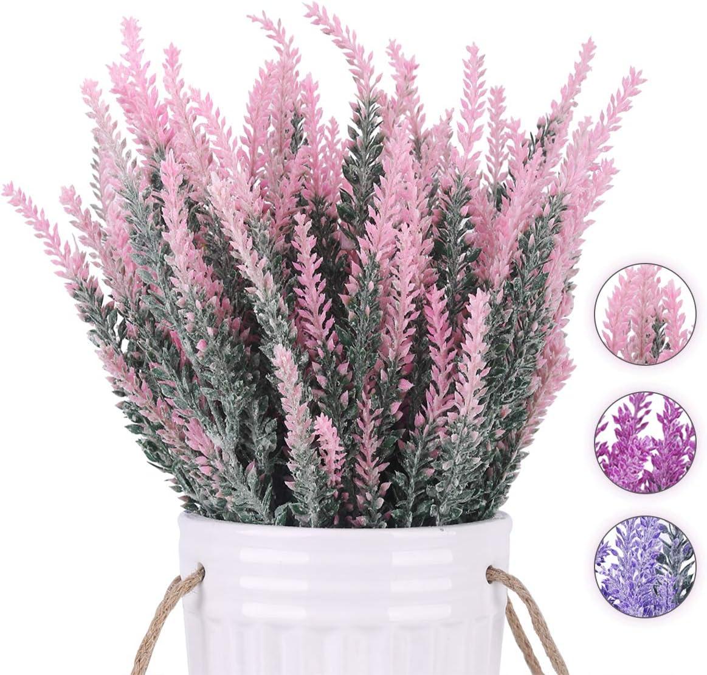 BOMAROLAN Artificial Lavender Plant Fake Flowers Wedding Bouquet Home Kitchen Office Table Centerpieces Arrangements Decor 6pcs (Pink)