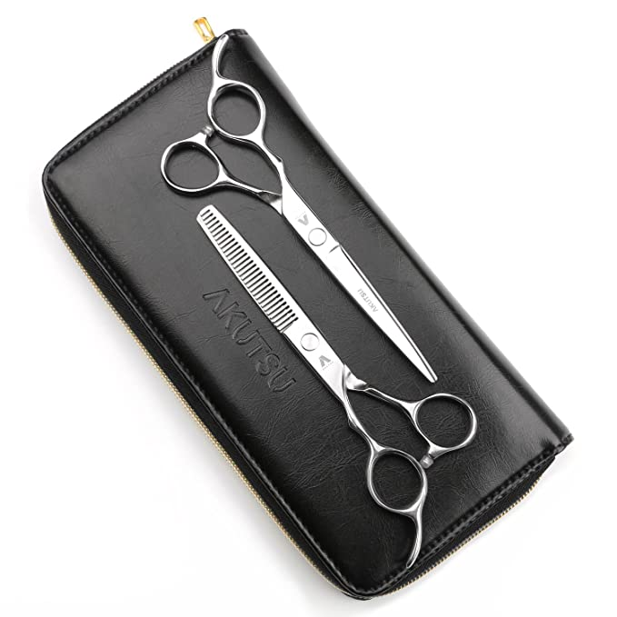 "AKUTSU Salon Barber Stainless Steel 6"" Left Handed Hair Cutting Thinning / Texturizing Scissors / Shears Set"