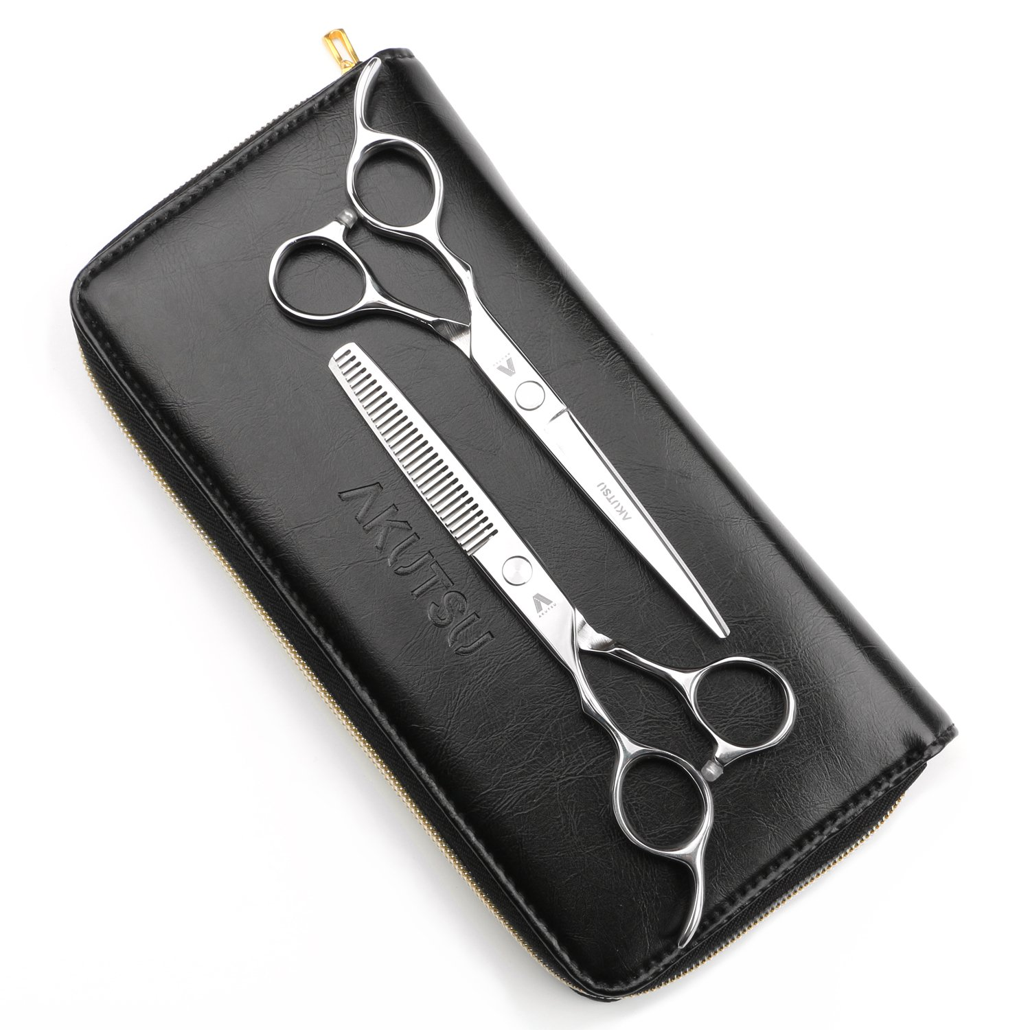 AKUTSU Salon Barber Stainless Steel 6'' Left Handed Hair Cutting Thinning / Texturizing Scissors / Shears Set