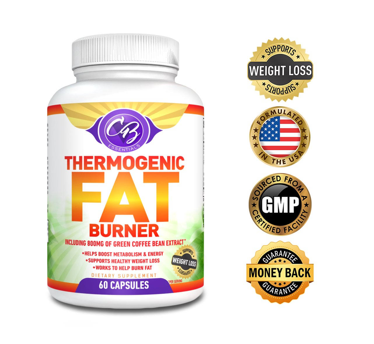 Best Thermogenic Fat Burner Weight Loss Pills Garcinia Cambogia Green Tea Extract Raspberry Ketones 800mg Green Coffee Bean Extract for Weight Loss Belly Fat Burners Supplement Lose Fast CB Essentials by CB Essentials LLC