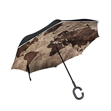 Alaza double layer inverted vintage world map umbrella cars alaza double layer inverted vintage world map umbrella cars reverse windproof rain umbrella for car outdoor gumiabroncs Gallery