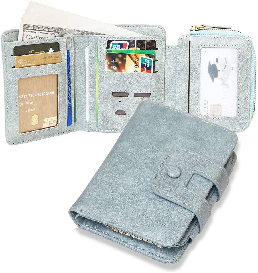 blue Womens Leather Wallet,RFID Blocking Leather Trifold Wallet Zipper Pocket Wallet Card Case Purse with id Window