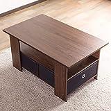 テーブル 使いやすい収納付きセンターテーブル(80×48cm) すっきり片付く収納ボックス付き 中下段で3分割 木製ローテーブル 訳有り(ブラウン色)