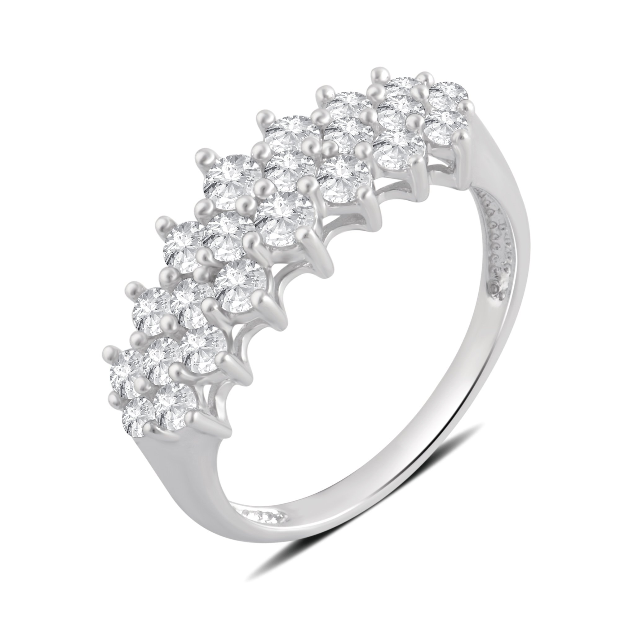 1.00 Cttw Diamond Pyramid Ring in Sterling Silver
