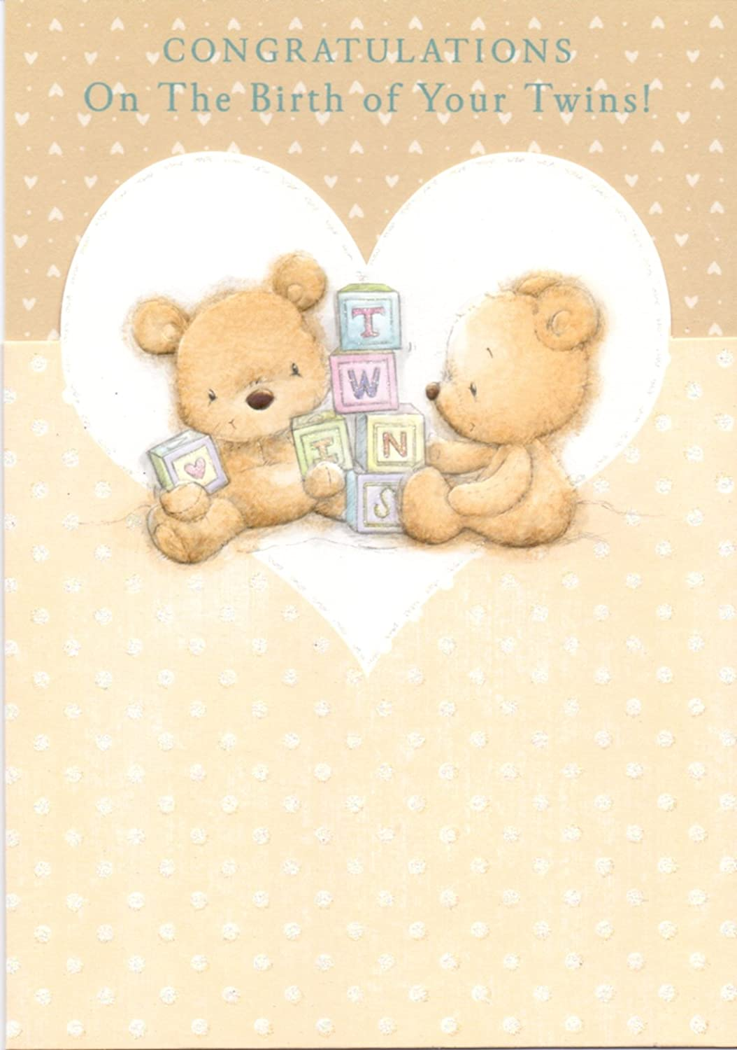 "Cute Congratulation/'s /""ON THE BIRTH OF YOUR TWINS/""  Card"
