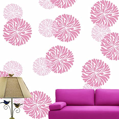Lashkara D34 Floral Plastic Wall Stencil Design For Living Room White
