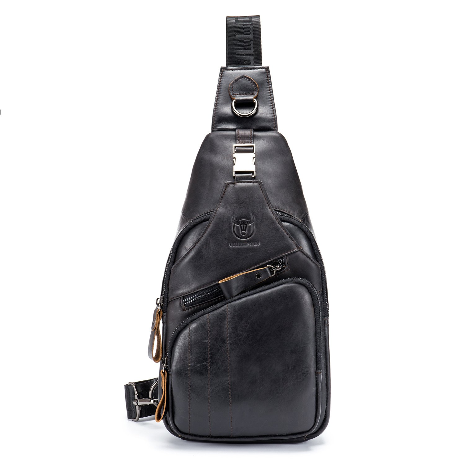 BULL CAPTAIN Shoulder Backpack Casual Cross Body Bag Big Size Genuine Leather 9.7 inch Ipad Pro Pack Travel Sling Bag XB-105 (Black, Small)