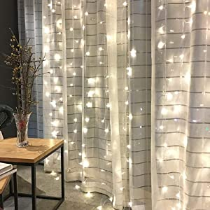 Twinkle Star 300 LED Window Curtain String Light for Christmas Wedding Party Home Garden Bedroom Outdoor Indoor Wall Decoration (White)
