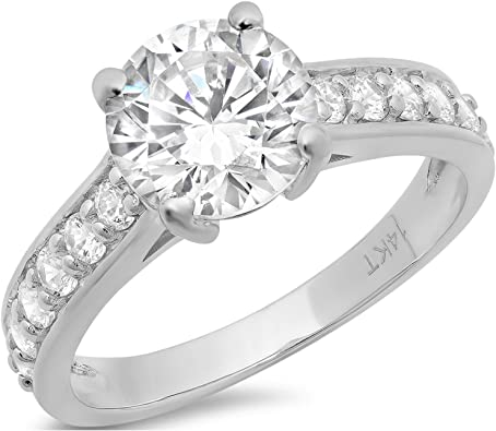 2.25 Ct Round Cut Simulated Diamond Solitaire Engagement Ring 14k White Gold
