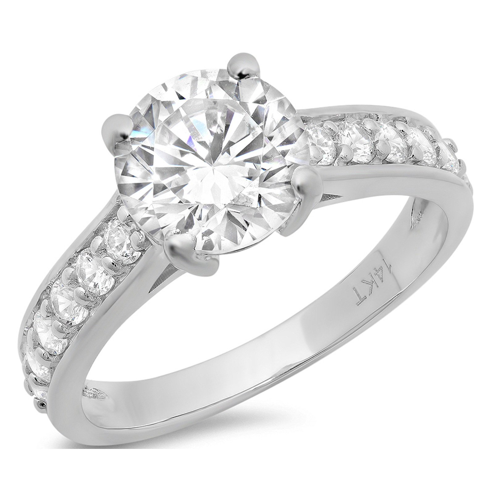 Clara Pucci 2.15 CT Brilliant Round Cut CZ Solitaire Engagement Wedding Ring Accent 14k White Gold, Size 9.5