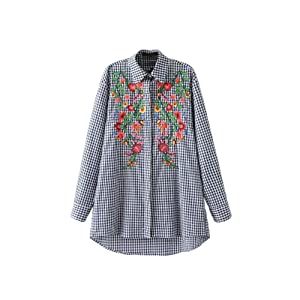 Romacci Women Long Embroidery Plaid Blouse Floral Long Sleeves Top Shirt