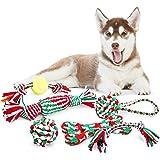 Pecute Juguetes de Cuerda para Perros Navidad 6 Piezascon Sonido Cuerda de Mordida para la Masticación Entrenamiento y la Limpieza de Dentición para Perros Pequeños yMedianos