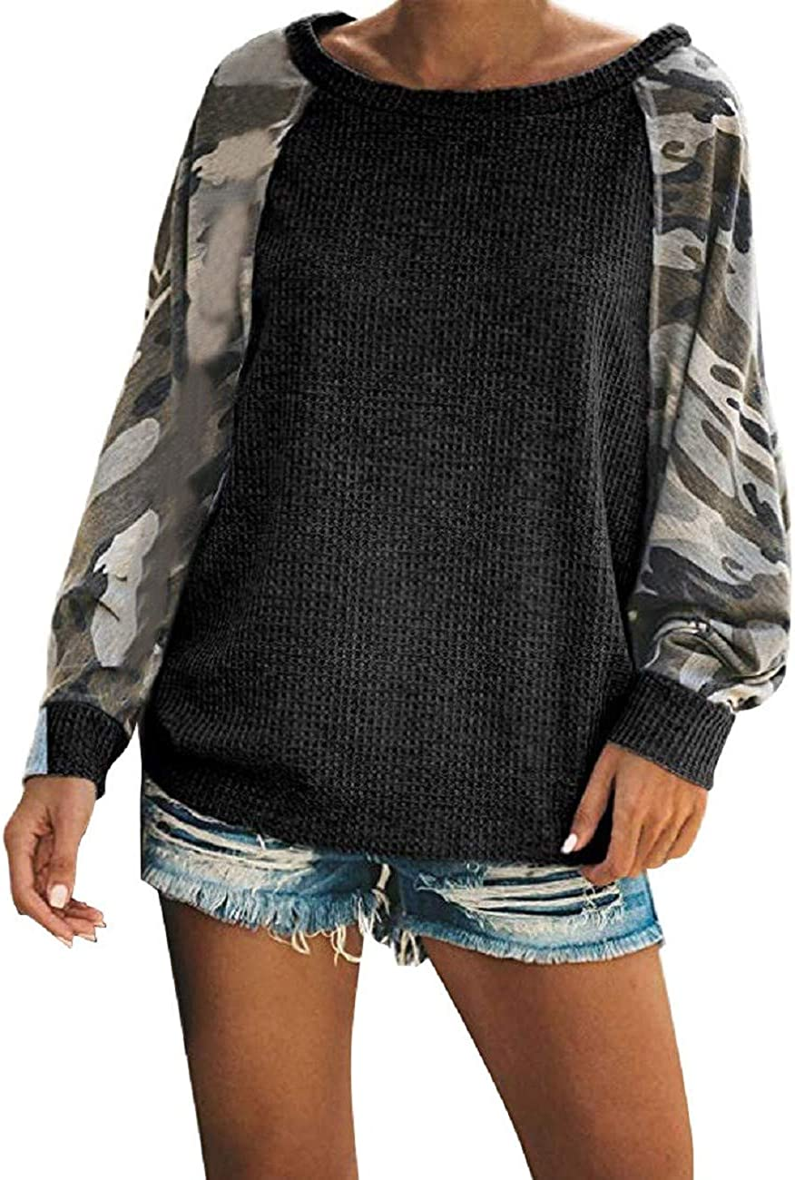 FAPIZI Womens Fashion Printed Patchwork Long Sleeve Waffle Knit Tops Crew Neck Pocket Casual Loose Pullover Tops