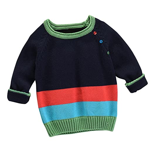 57adead7d Amazon.com  KONFA Boys Girls Button Decor Knitted Sweater