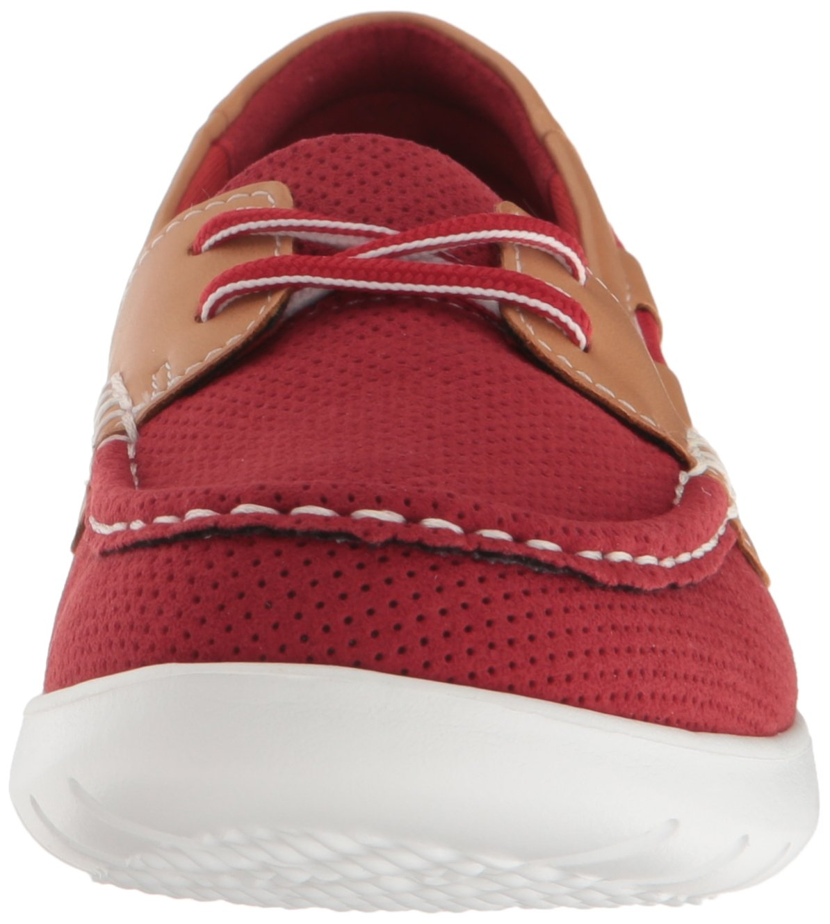 CLARKS Women's Jocolin Vista Boat Shoe, Red Perforated Microfiber, 12 B(M) US by CLARKS (Image #4)