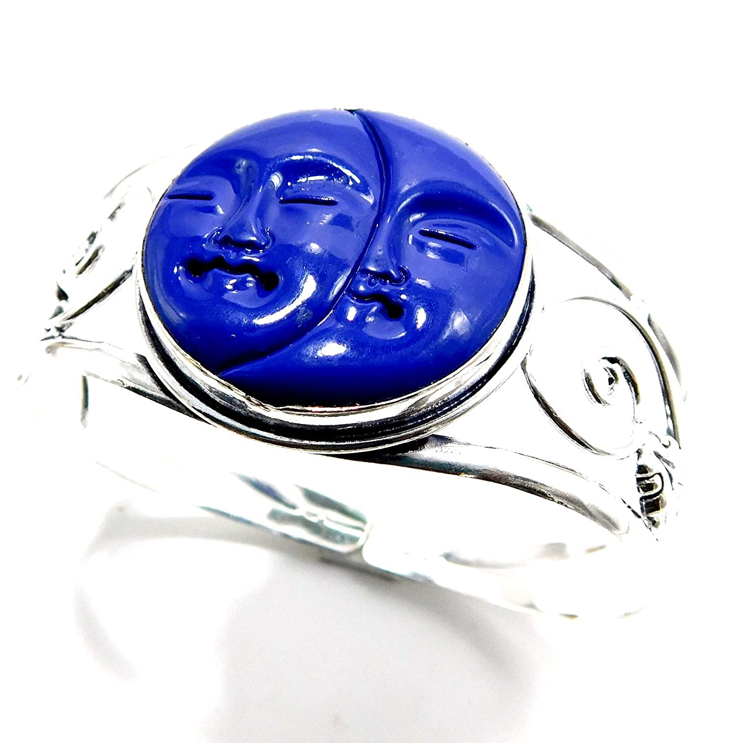 pratik-jewel Carved Moon Face 925 Sterling Silver Plated Handmade Jewelry Bangles 23 Gm