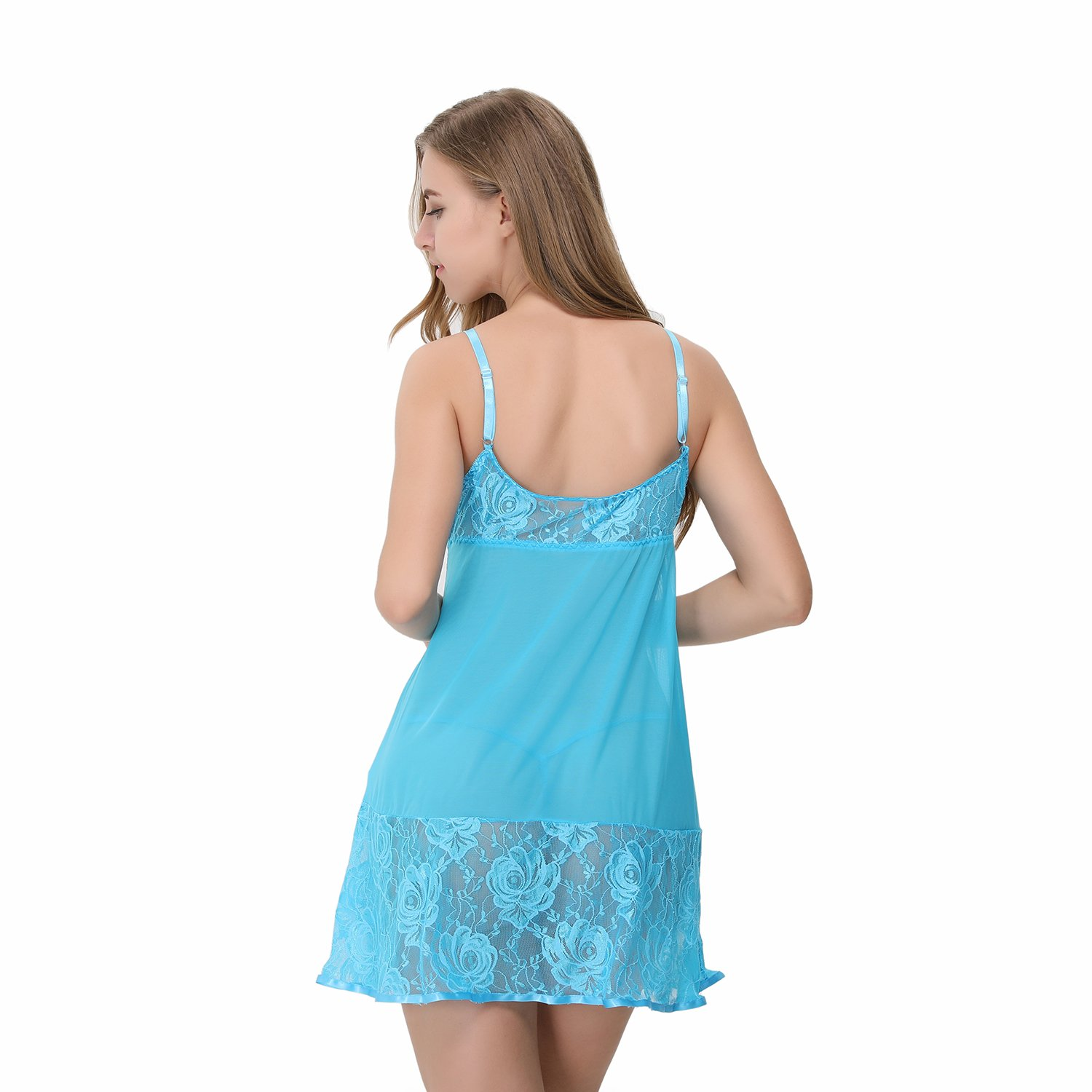 Advoult Women Babydolls Sexy Lingerie Nighty Lace Sleepwear Mesh Chemise Outfits by Advoult (Image #4)