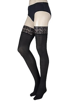 8a92c4b79 Pretty Legs B8H Ladies 1 Pair 80 Denier Lace Top Hold Ups Black Medium Large   Amazon.co.uk  Clothing