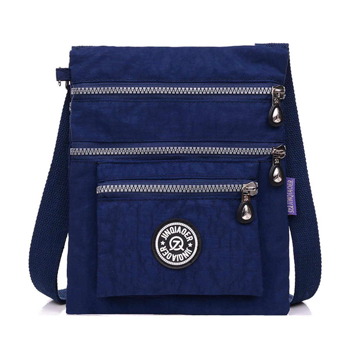 TianHengYi Small Water Resistant Nylon Cross-body Shoulder Bag Multilayers Navy Blue