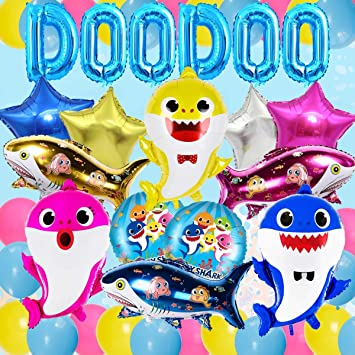Shark Decoraciones para Fiestas Shark Balloons Sets DOO DOO ...