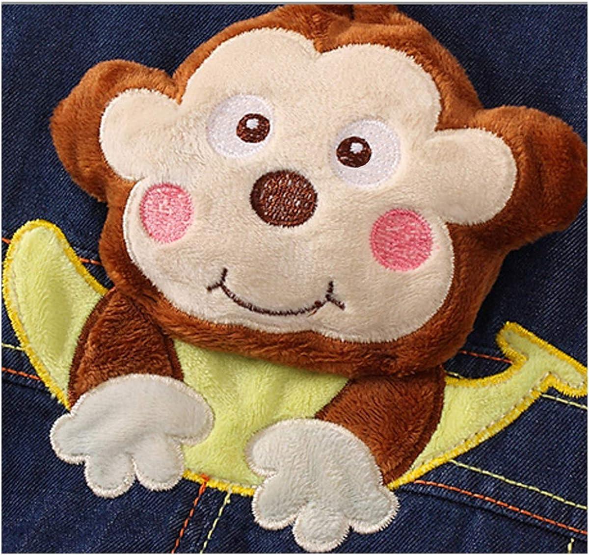 DEBAIJIA Baby Jungen M/ädchen Denim Latzhose Kleinkind Hosentr/äger Jeans Overall AFFE mit Banane Herstellergr.73 Deutsche Gr.68//74