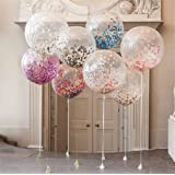 "36"" Confetti Balloons Jumbo Latex Balloon Paper Balloons Crepe Paper Filled with Multicolor Confetti for Wedding or Party Decorative (5 Pcs) CVBOSS"
