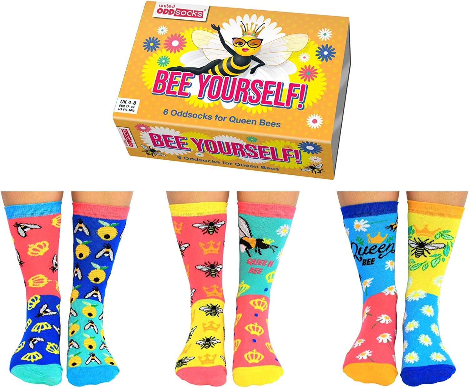 4 /– 8 EUR 37 /– 42 US 6.5 /– 10.5, multicolor United Oddsocks Bee Yourself Calcetines para mujer