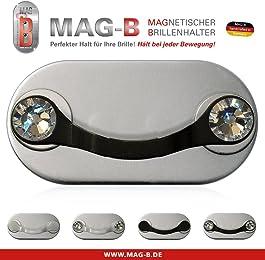 MAG-B porta occhiali magnetico (acciaio inossidabile nero con cristalli originali di Swarovski)
