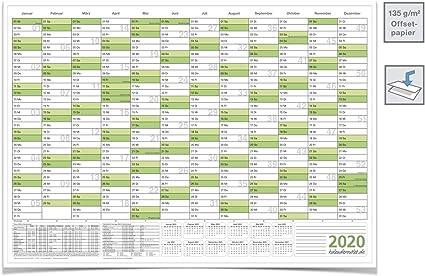 Wandkalender Jahresplaner 2020 Mit Ferien A0 Gross 118 8 X 84 0 Cm 135 G Grun Gefaltet