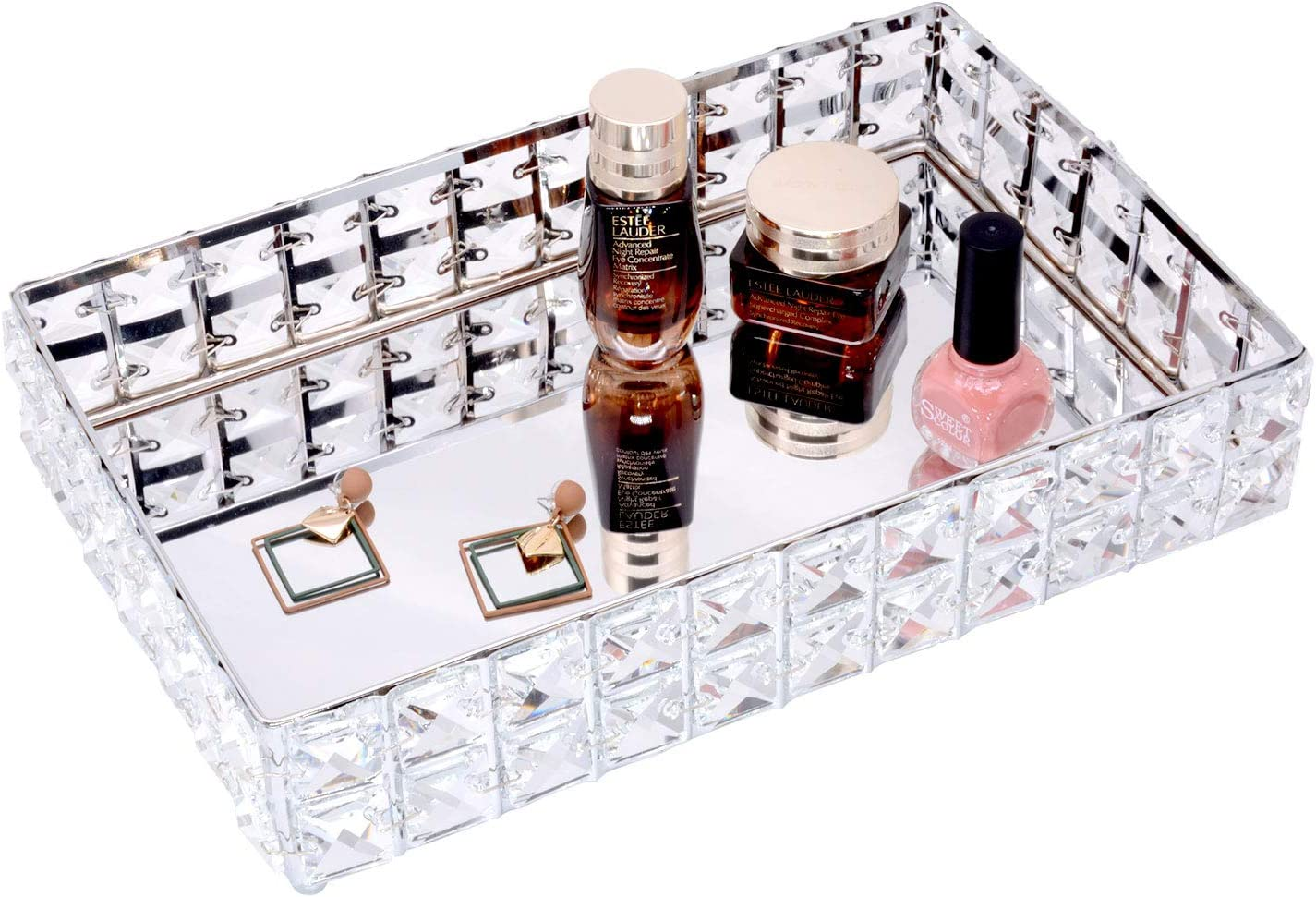 VoiceFly Rectangle Crystal Vanity Makeup Tray, Mirrored Sparkly Bling Jewelry Display Tray Organizer for Storage Perfume, Toiletries, Trinket, Home Decor Tray for Dresser Vanity Table Bathroom, Silver
