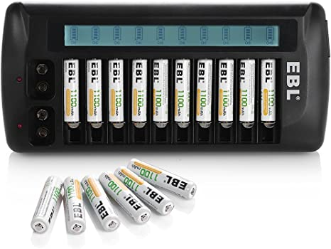 16x EBL 1100mAh AAA Rechargeable Batteries 12 Bay  AA 9V LCD Battery Charger
