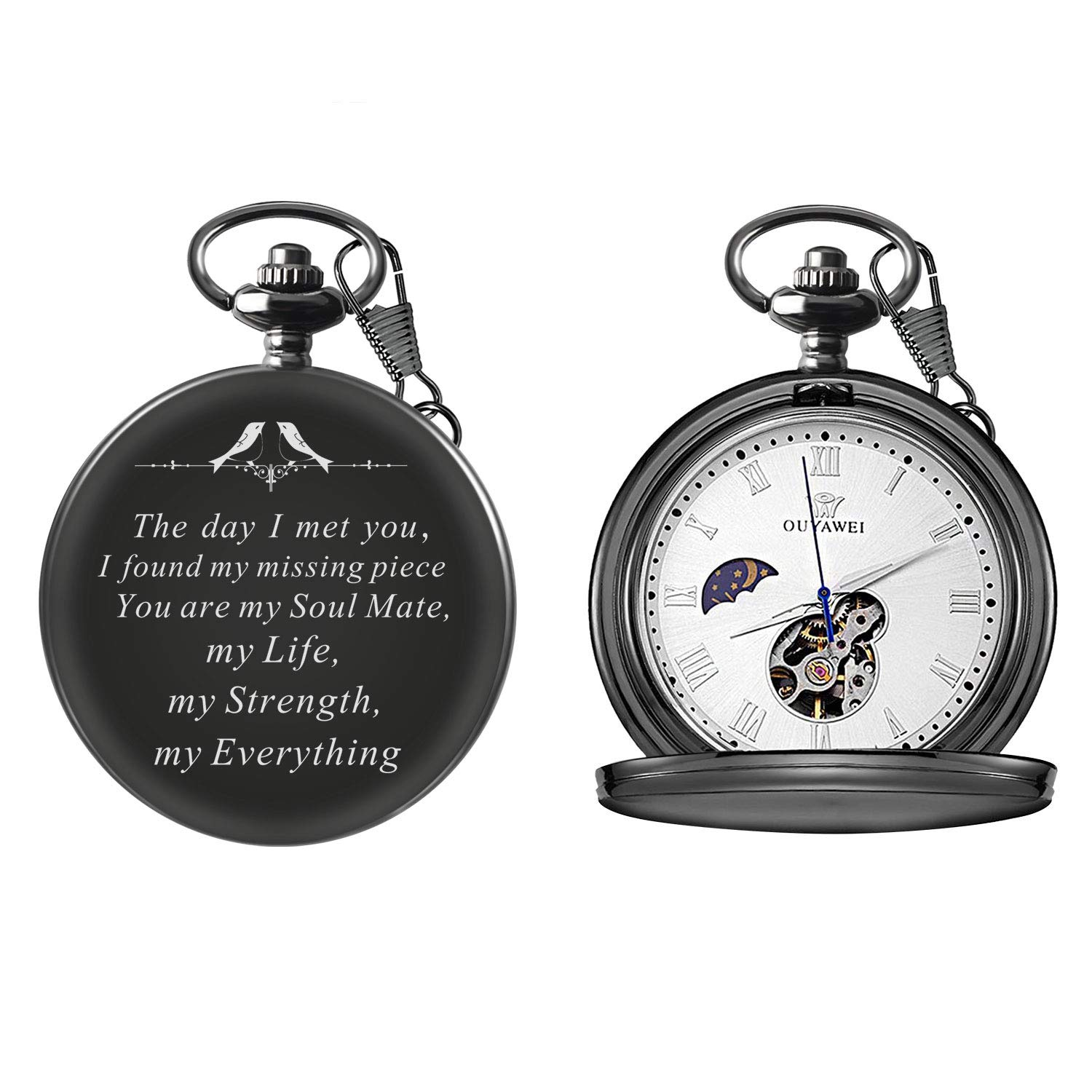 Mens Engraved Gifts for Valentine's Day, Anniversary Birthday Graduation Christmas Personalized Mechanical Pocket Watch with Gift Box (The Day I met You) by Ginasy (Image #2)