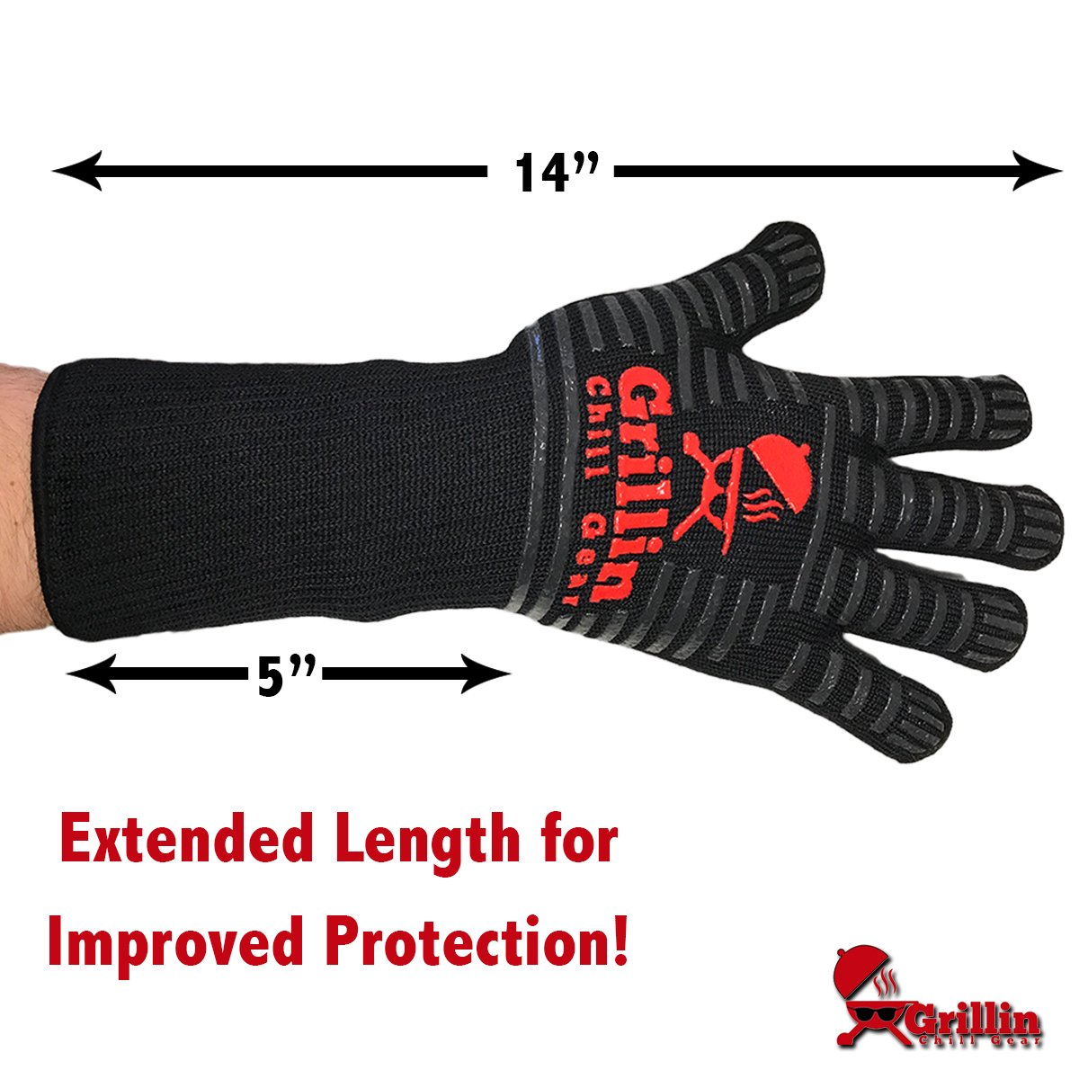 Grillin Chill Gear Meat Claws - Best Bear Claw Pulled Pork Meat Shredders in BBQ Grill Accessories +Extreme Heat Resistant Grill Gloves, Heavy Duty Aramid Fiber & Non Slip Silicone, Soft Cotton Liner by Grillin Chill Gear (Image #3)